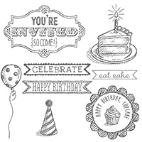 Sketched Birthday Wood Stamp Set